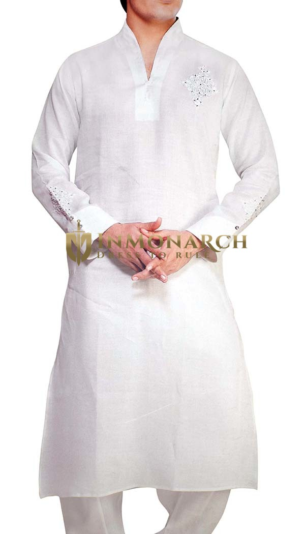 Mens White Sherwani for Men Linen Kurta Pyjama Full Sleeves Sherwani