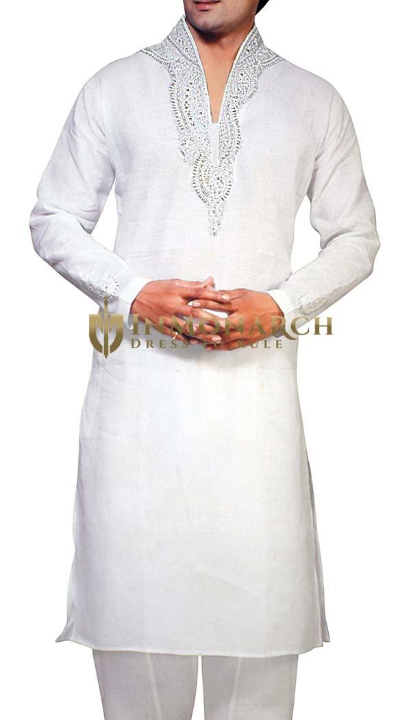 Mens Sherwani White Linen Kurta Pyjama  Sherwani Hand Embroidered