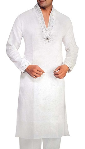 Kurta Pajama for Men White Linen Kurta Pyjama Bollywood Style