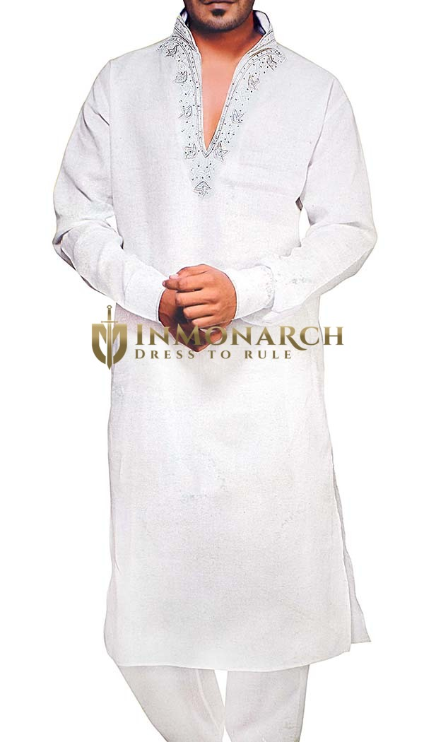 Indian Clothes for Men White Linen Kurta Pyjama V Style Neck