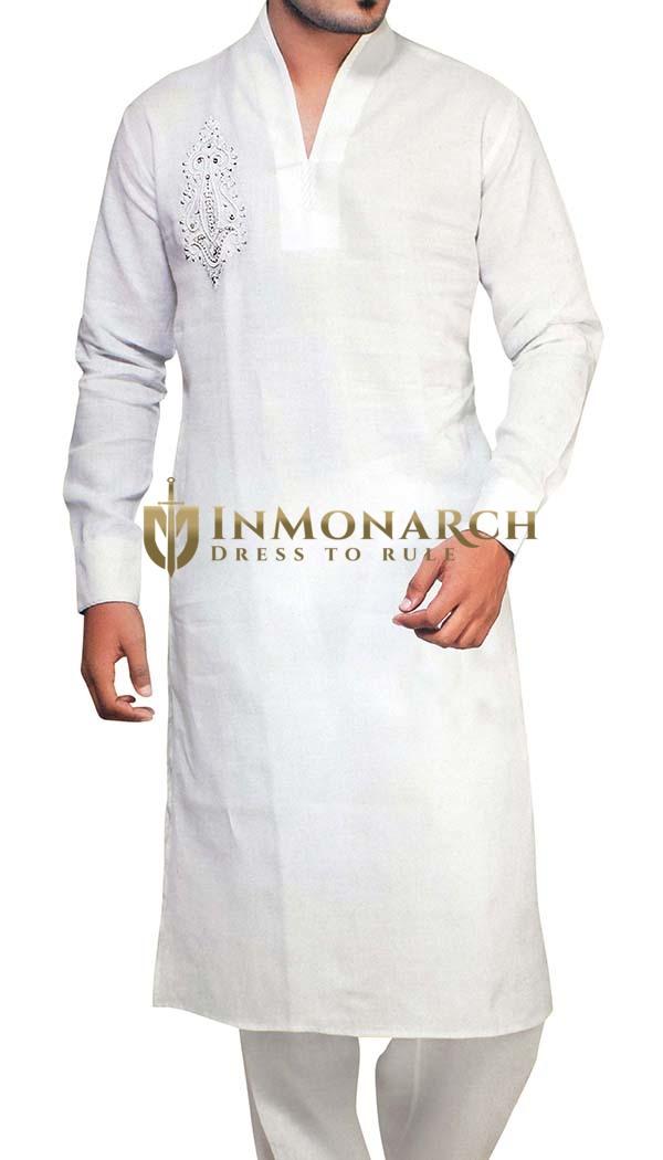 Mens White Kurta Pajama Linen Kurta Pyjama Indian Style Indian Kurta