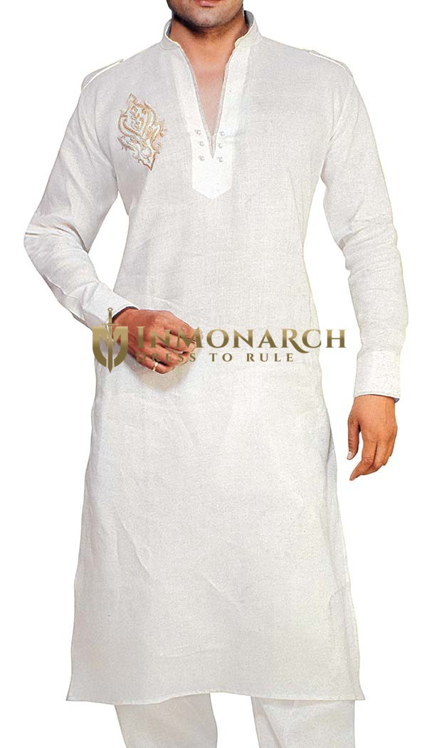 White Indian Kurta Linen Kurta Pyjama Stylish V Neck Sherwani for Men