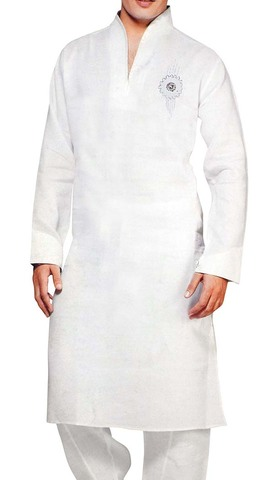 Sherwani for Men White Linen Kurta Pyjama Ethnic Style Indian Kurta