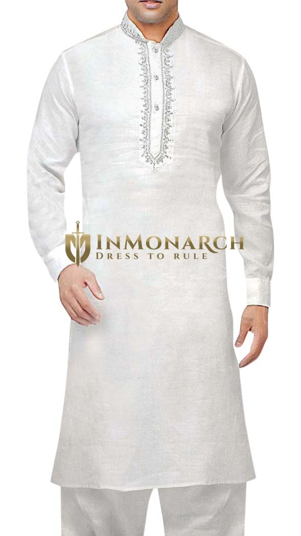 Indian Clothes for Men White Linen Kurta Pyjama Sherwani Mandarin Collar