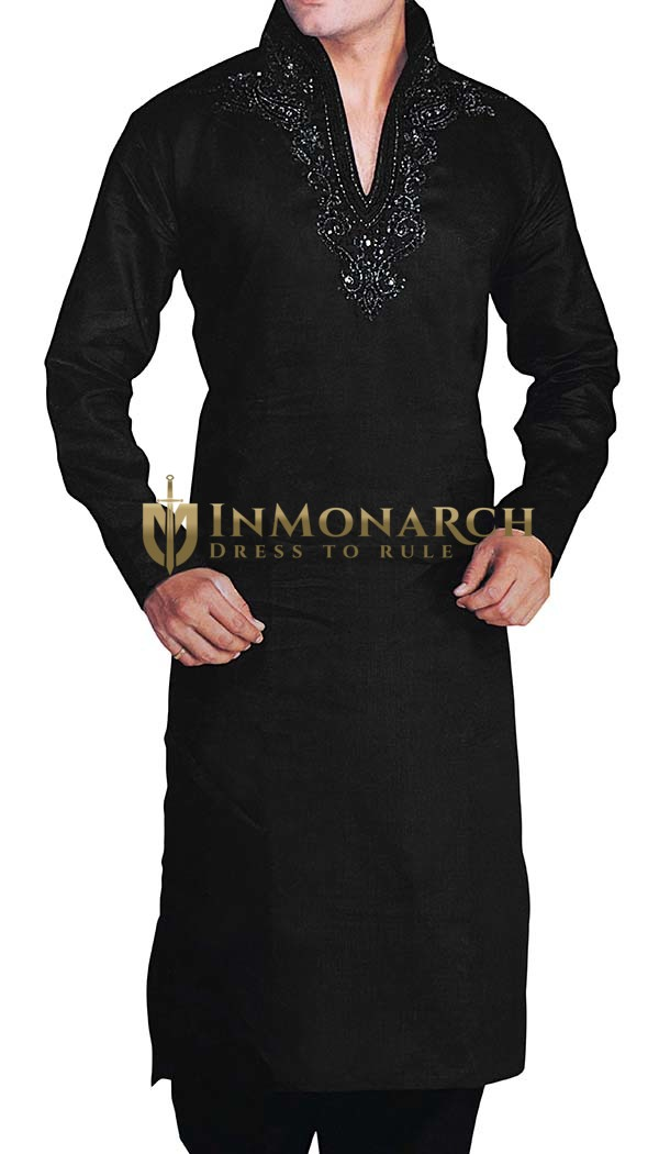 Men Black High Neck Long Kurta Pyjama