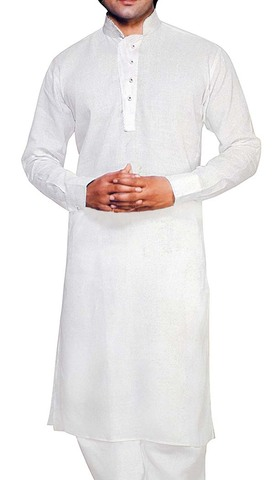 Indian Clothes for Men White Linen Kurta Pyjama Partywear Indian Kurta