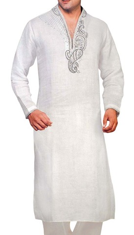 Sherwani for Men White Kurta Pyjama Paisley Emboirdery Kurta Pajama