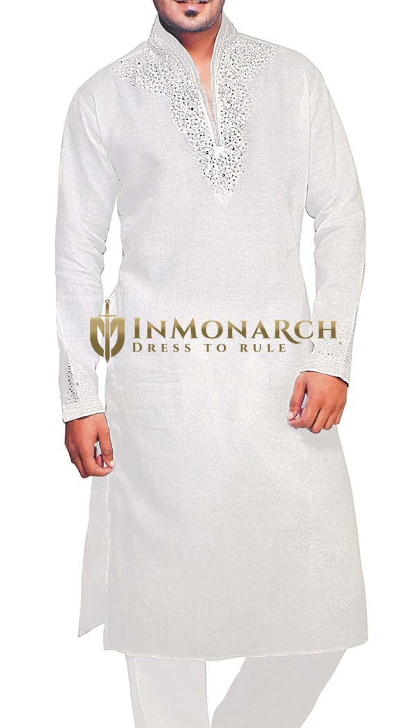 Mens Sherwani White Linen Kurta Pyjama for Bridegroom Indian Kurta