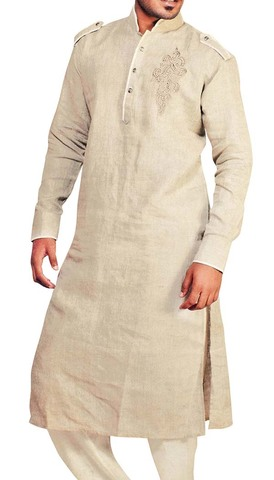 Indian Clothes for Men Beige Linen Kurta Pyjama Pathani Style Sherwani