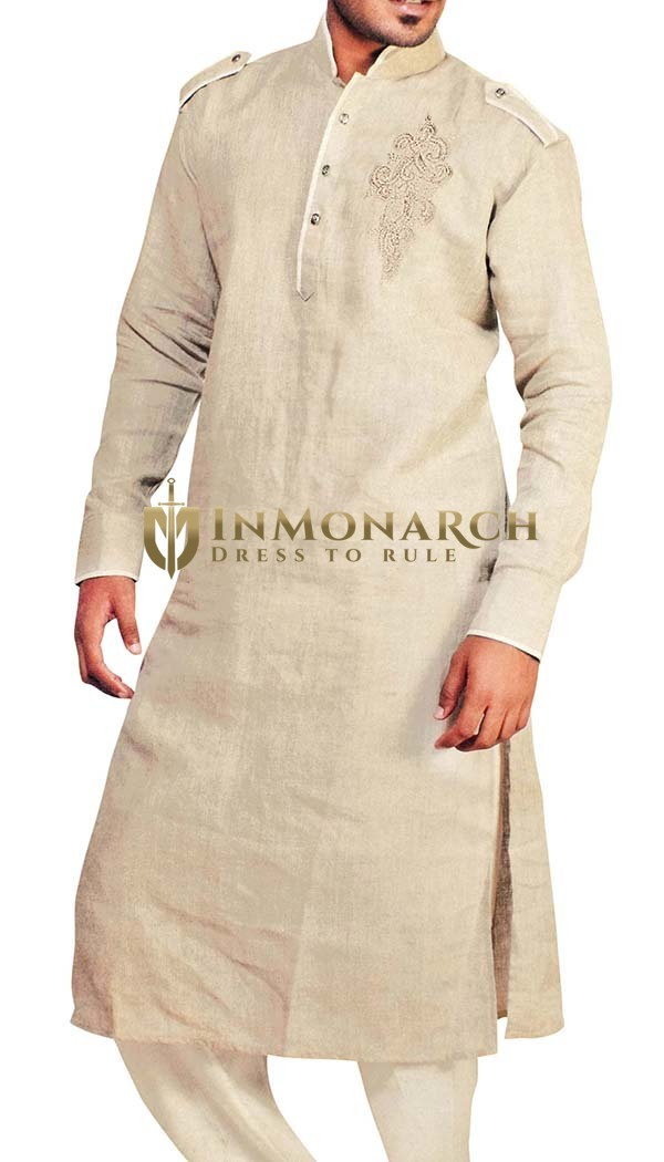 Indian Clothes for Men Beige Linen Kurta Pyjama Pathani Style Sherwani