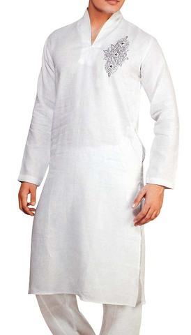 Indian Clothes for Men White Linen Kurta Pyjama Ethnic Partywear Indian Kurta