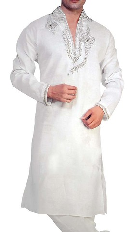 Mens Indian Kurta White Linen Kurta Pyjama Heavy Embroidered Sherwani