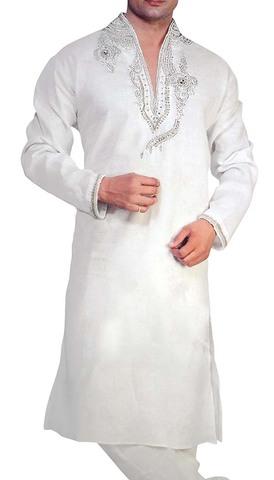 Mens Indian Kurta White Linen Kurta Pyjama Heavy Embroidered Sherwani