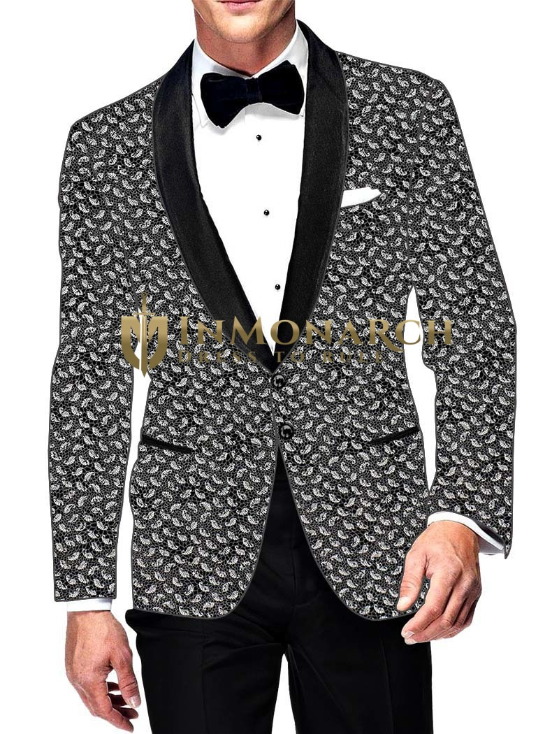 Mens Slim fit Casual Gray Cotton Blazer sport jacket coat Paisley Design