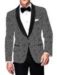 Mens Slim fit Casual Gray Cotton Blazer sport jacket coat Paisley Design