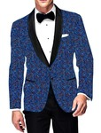 Mens Slim fit Casual Steel Blue Blazer sport jacket coat Printed Cotton