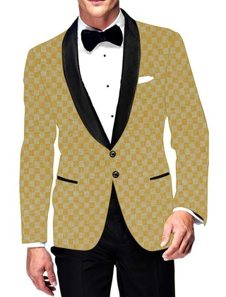 Mens Slim fit Casual Yellow Checks Cotton Blazer sport jacket coat Partywear