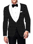 Mens Slim fit Casual Black Cotton Blazer sport jacket coat White Polka