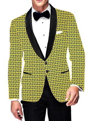 Mens Slim fit Casual Yellow Cotton Blazer sport jacket coat Stylish Printed