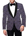 Mens Slim fit Casual Black Printed Blazer sport jacket coat for Wedding