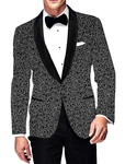 Mens Slim fit Casual Black Cotton Blazer sport jacket coat White Floral Design