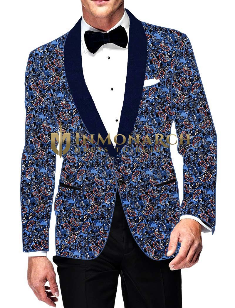Mens Slim fit Casual Steel Blue Cotton Blazer sport jacket coat Paisley Design