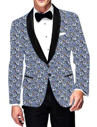 Mens Slim fit Casual Sky Blue Cotton Blazer sport jacket coat Paisley Design