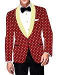 Mens Slim fit Casual Red Cotton Blazer sport jacket coat Polka Printed