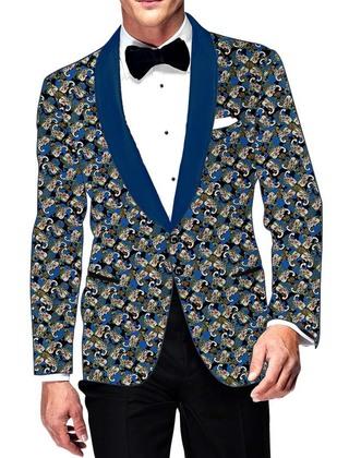 Mens Slim fit Casual Black Printed Cotton Blazer sport jacket coat Partywear