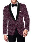 Mens Slim fit Casual Magenta Cotton Blazer sport jacket coat White Balloon Printed