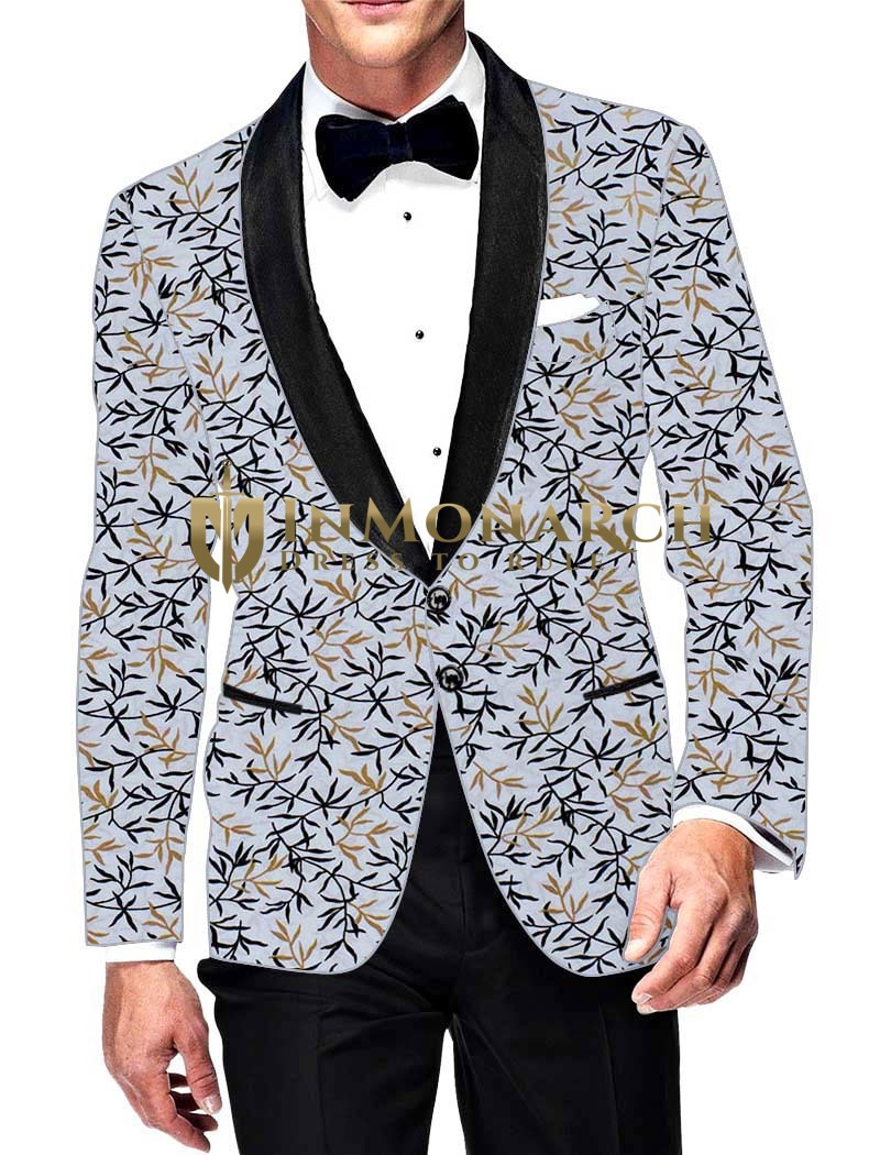 Mens Slim fit Casual Lavender Cotton Blazer sport jacket coat Floral Printed