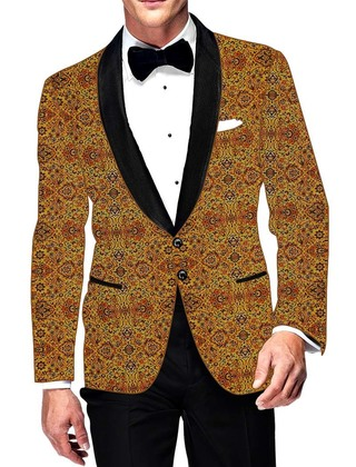 Mens Slim fit Casual Yellow Cotton Blazer sport jacket coat Designer Print