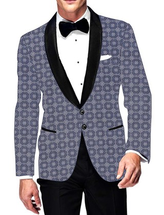 Mens Slim fit Casual Sky Blue Cotton Blazer sport jacket coat Circle Design