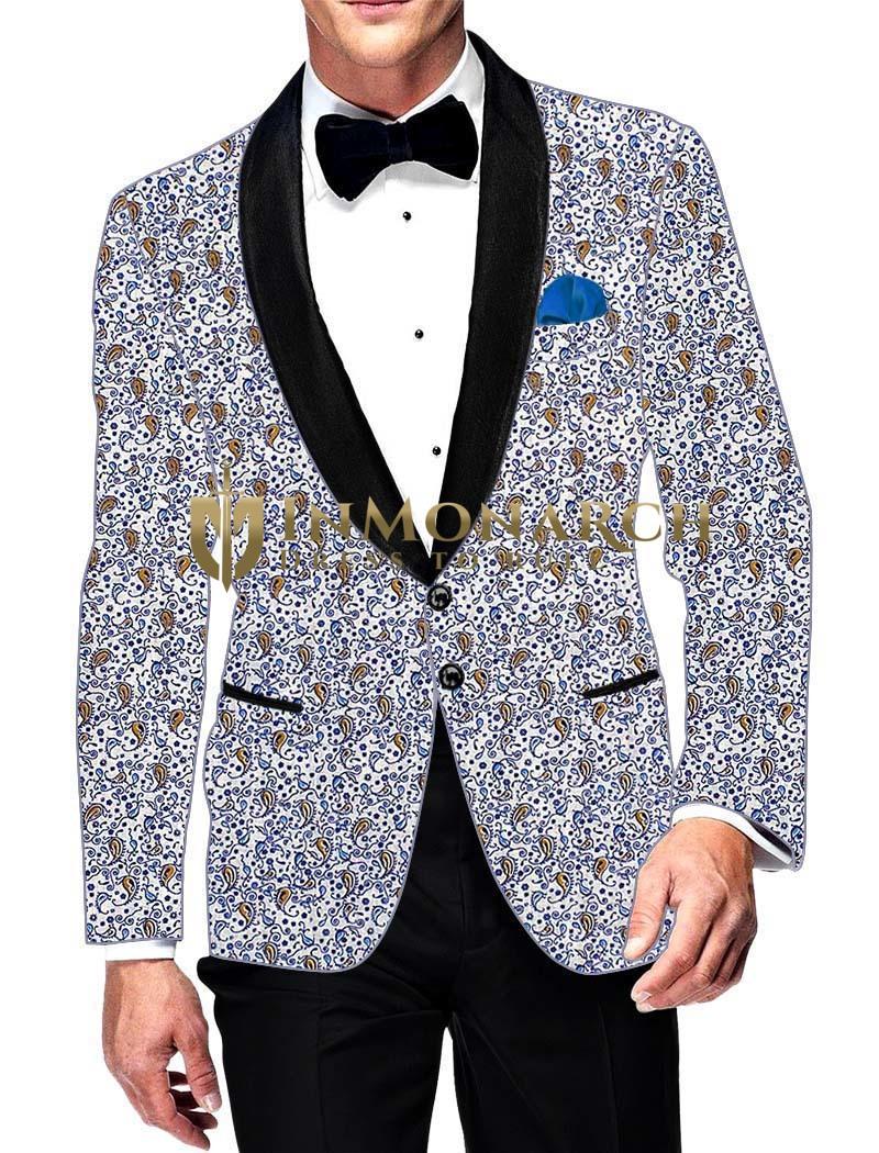 Mens Slim fit Casual White Cotton Blazer sport jacket coat Paisley Design