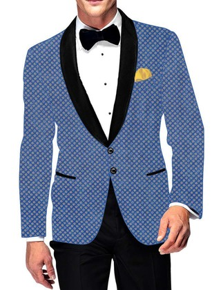 Mens Slim fit Casual Steel Blue Cotton Blazer sport jacket coat Star Printed