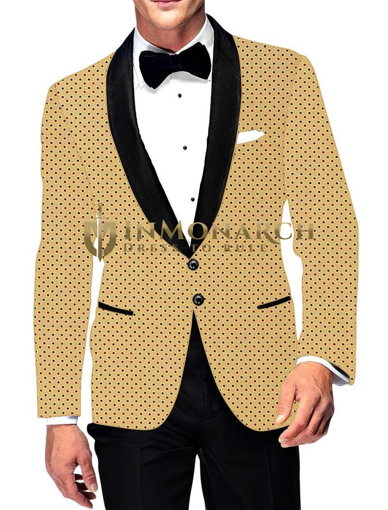 Mens Slim fit Casual Yellow Cotton Blazer sport jacket coat Polka Printed