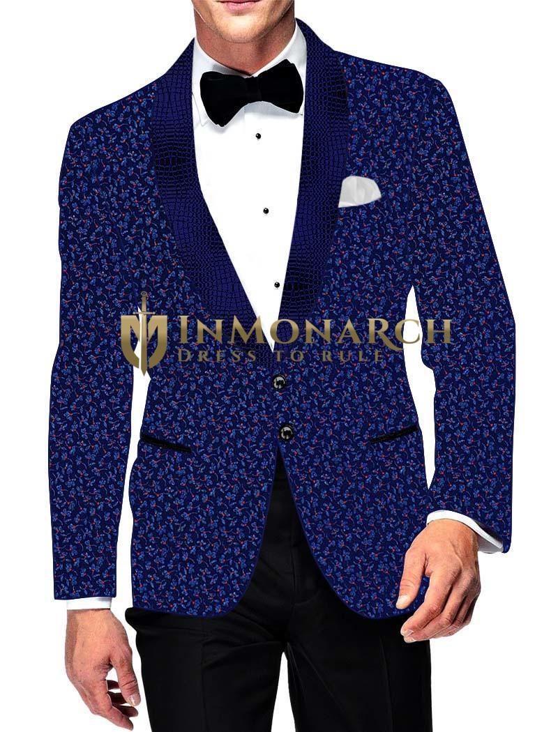 Mens Slim fit Casual Blue Cotton Blazer sport jacket coat Flower Printed