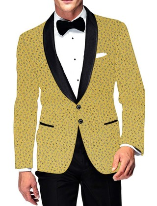 Mens Slim fit Casual Yellow Cotton Blazer sport jacket coat Ethnic Style
