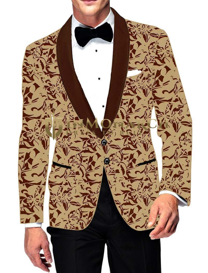 Mens Slim fit Casual Beige Cotton Blazer sport jacket coat Brown Printed