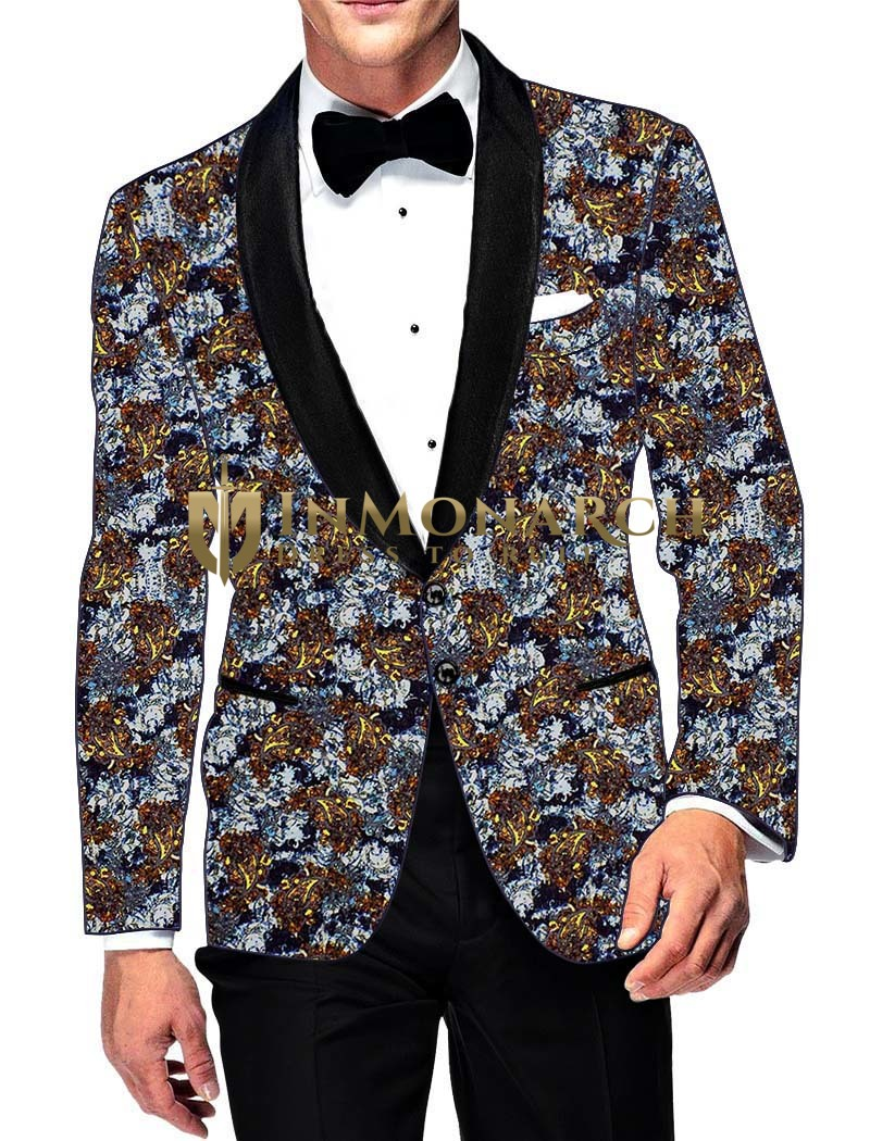 Mens Slim fit Casual Lavender Cotton Blazer sport jacket coat Brown Print