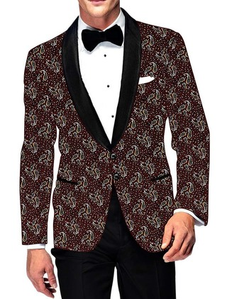 Mens Slim fit Casual Wine Cotton Blazer sport jacket coat Paisley Design