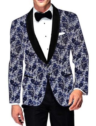 Mens Slim fit Casual Lavender Cotton Blazer sport jacket coat Blue Design Printed