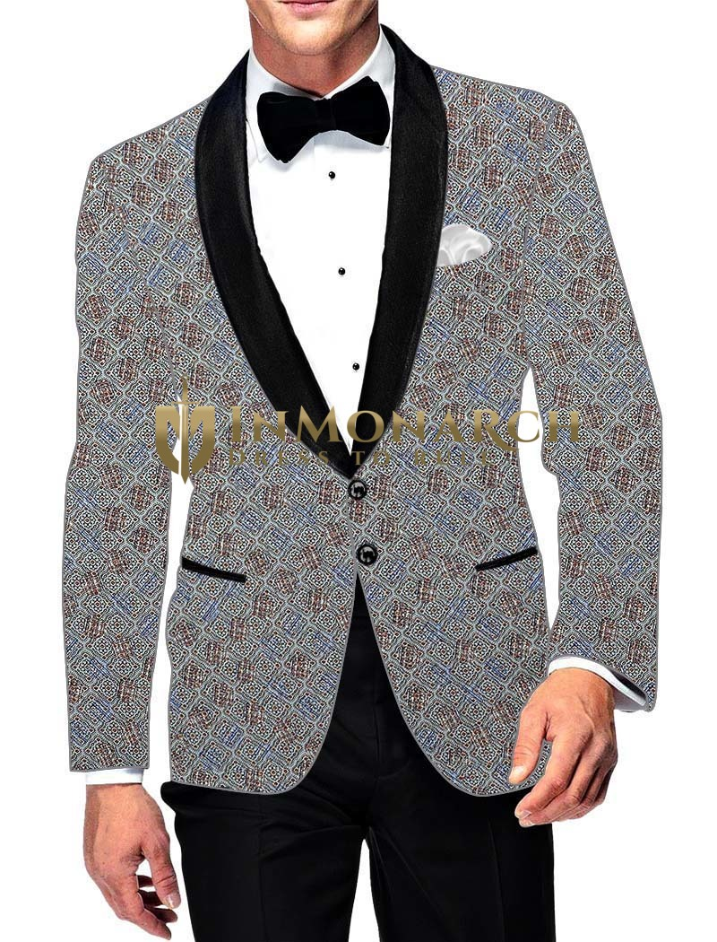 Mens Slim fit Casual Sky Blue Cotton Blazer sport jacket coat Box Design Printed