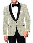 Mens Slim fit Casual Ivory Cotton Blazer sport jacket coat Black Design Print