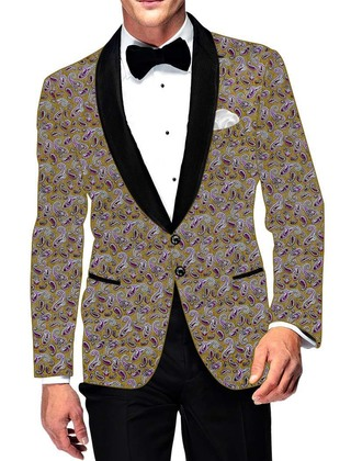 Mens Slim fit Casual Golden Cotton Blazer sport jacket coat Paisley Design