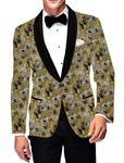 Mens Slim fit Casual Golden Cotton Blazer sport jacket coat Gray Printed Design