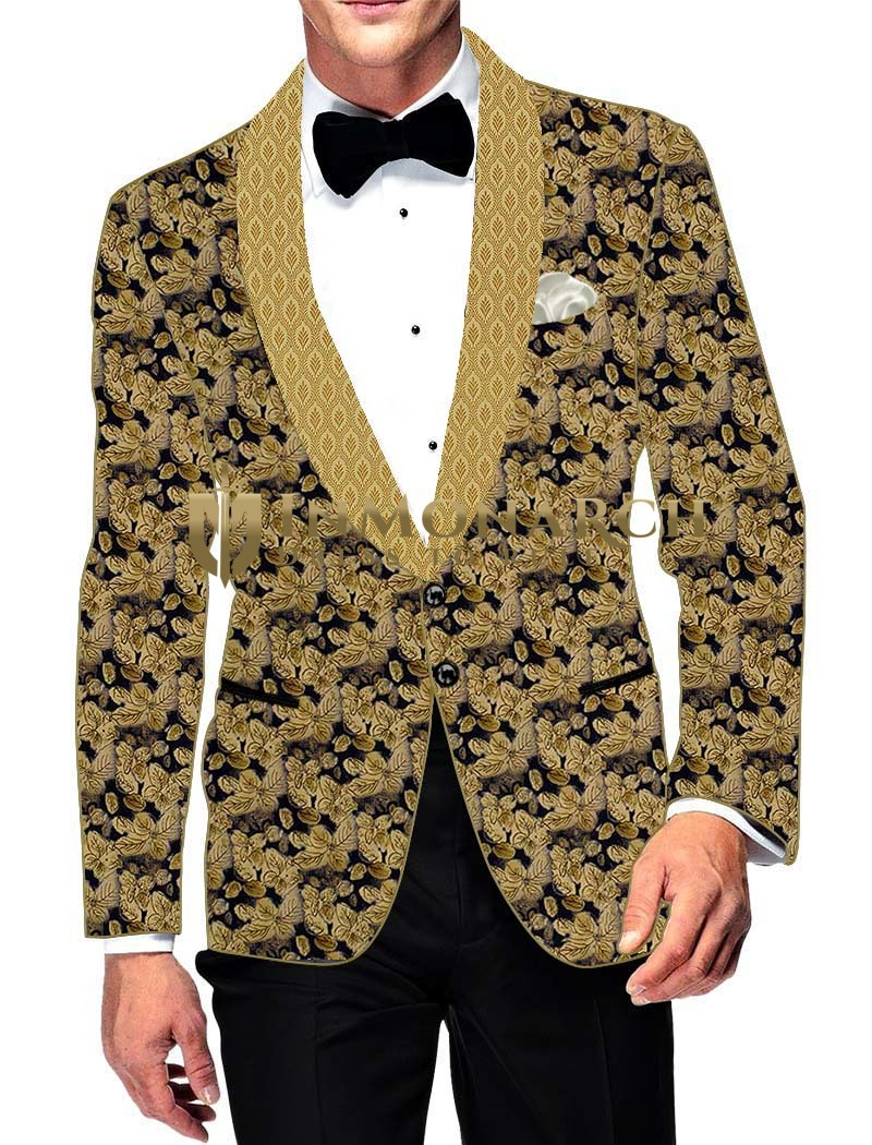 Mens Slim fit Casual Beige Cotton Blazer sport jacket coat Leaf Design Print