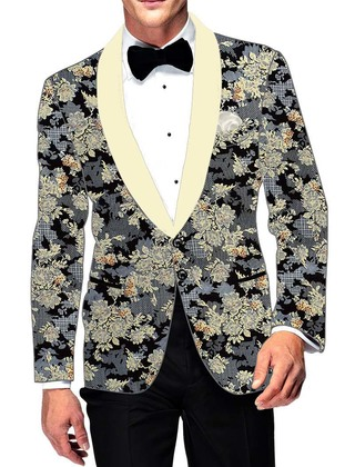 Mens Slim fit Casual Gray Cotton Blazer sport jacket coat Floral Printed