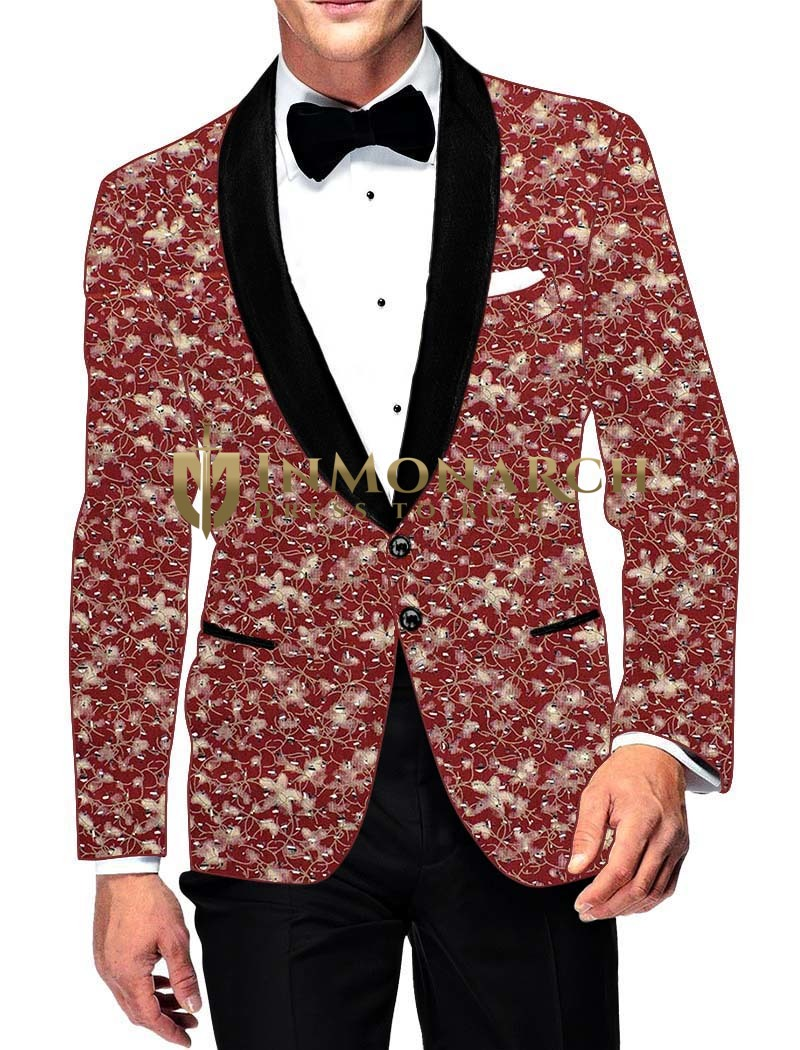 Mens Slim fit Casual Burgundy Cotton Blazer sport jacket coat Bollywood Style