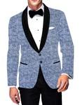 Mens Slim fit Casual Sky Blue Cotton Blazer sport jacket coat Leaf Design